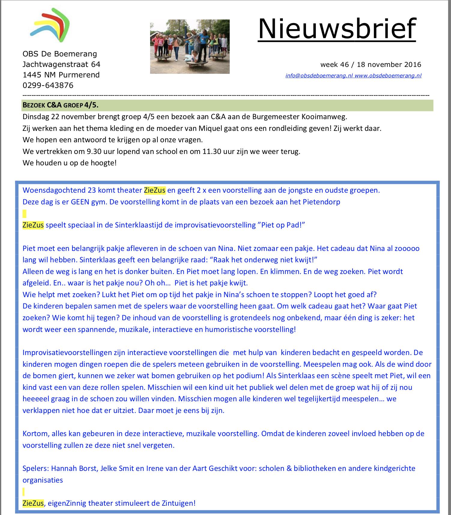 ZieZus sinterklaasvoorstelling Piet op pad OBS de Boemrang Purmerend